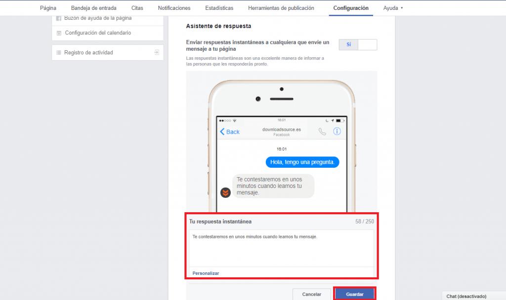 respuestas automáticas facebook
