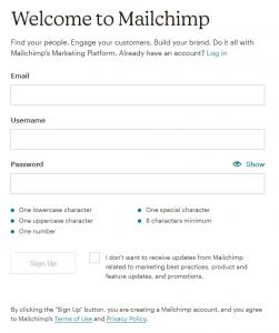 Formulario de MailChimp